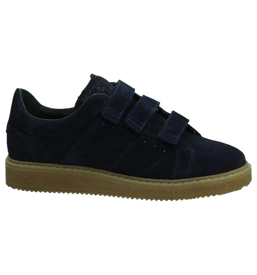 Blauwe Shoecolate Sneaker met Velcro in daim (192739)