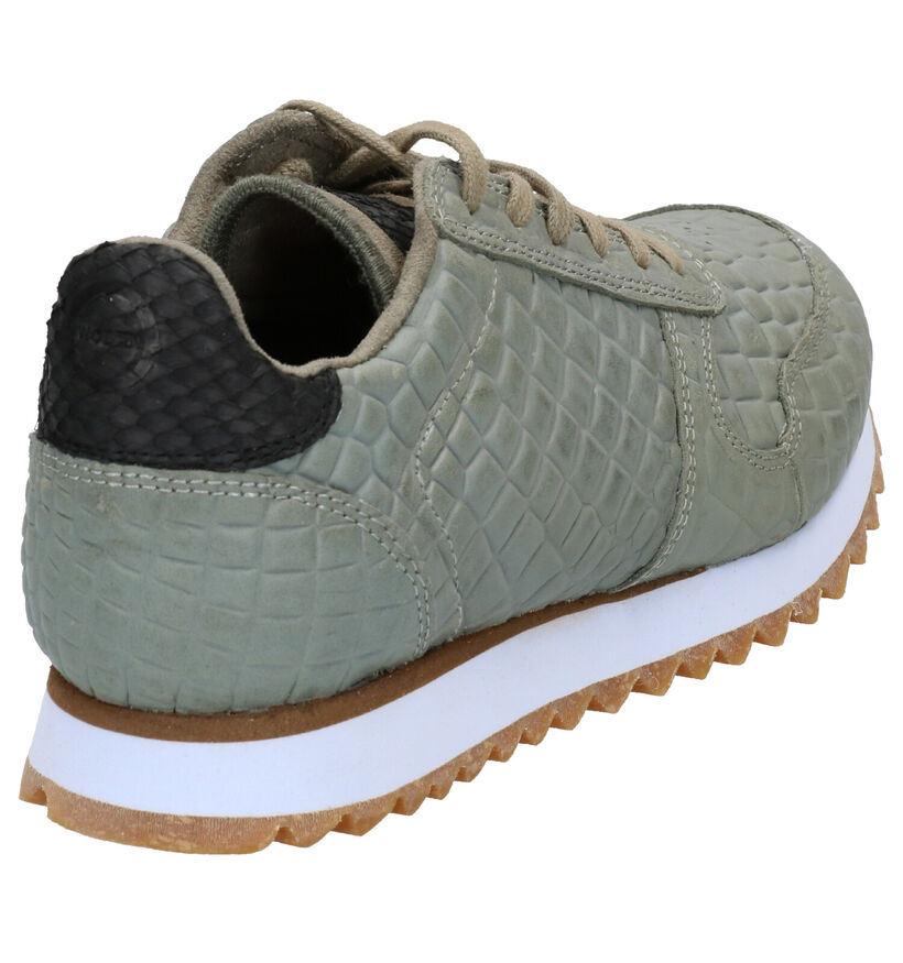Woden Ydun Croco Sneakers en Kaki en cuir (277423)