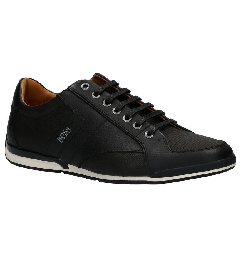 Hugo Boss Saturn Chaussures à lacets en Noir en cuir (257049)