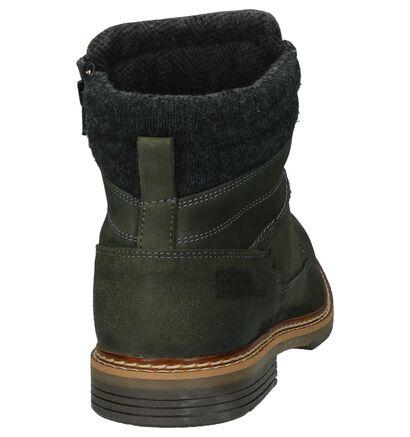 Kaki Boots met Rits/Veter Bullboxer in leer (222053)