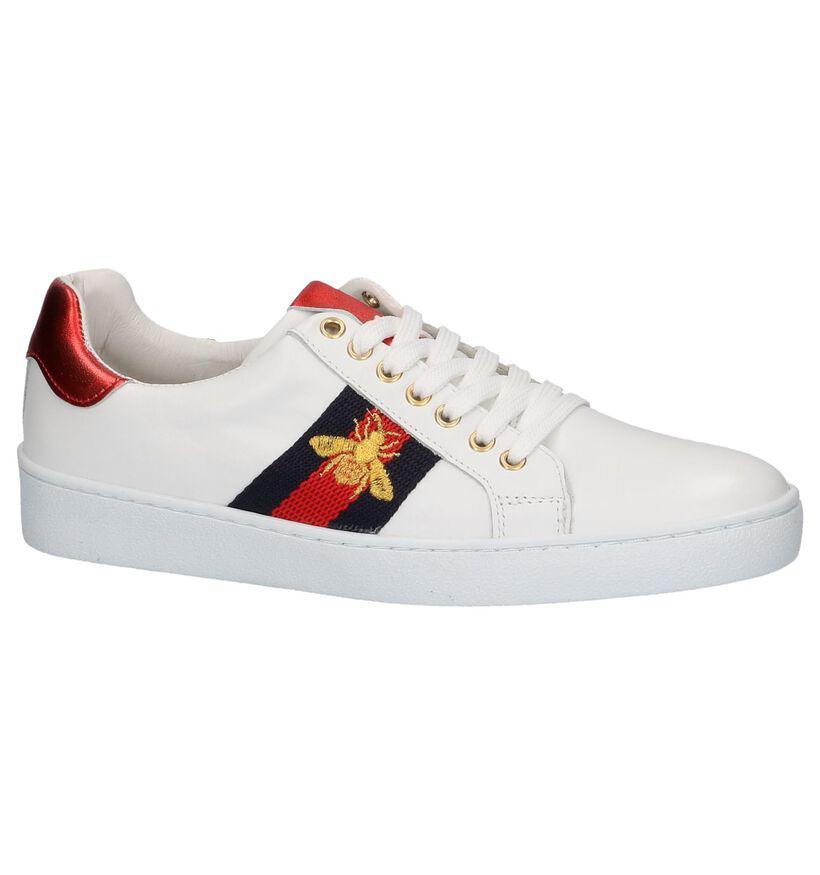 Via Limone Witte Sneakers met Tekening in leer (225878)