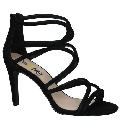 Via Limone Zwarte High Heels Sandalen in daim (209436)