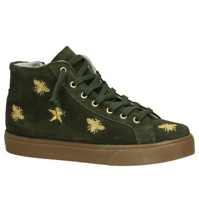 Hoge Kaki Sneakers Dazzle in stof (205529)