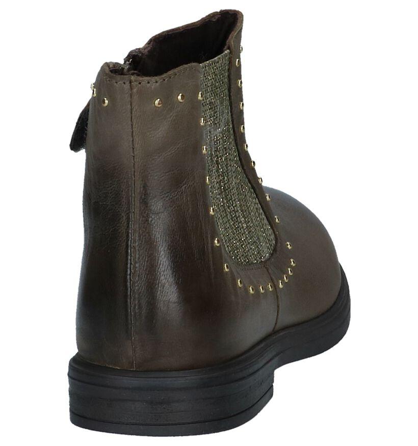 Milo & Mila Chaussures hautes en Vert olive en cuir (226033)