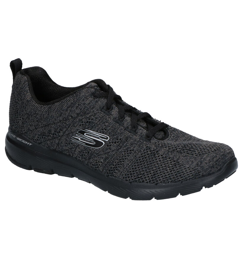 Skechers Flex Appeal Zwarte Sneakers in stof (277898)