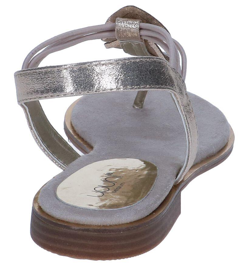 Youh! Sandales plates en Or en simili cuir (239197)