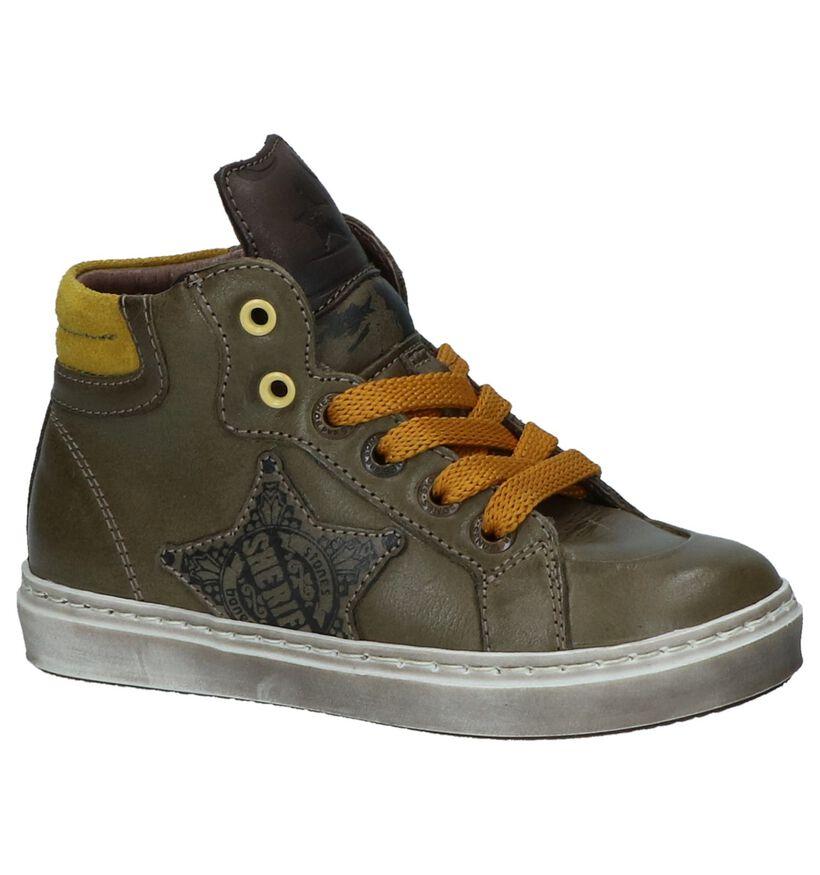 Donkergroene Boots STONES and BONES Coffo in leer (223411)