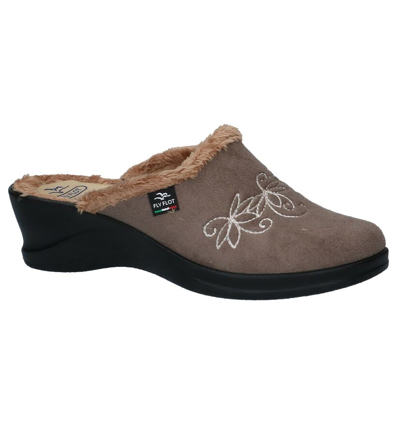 Taupe Pantoffels Fly Flot in stof (232739)