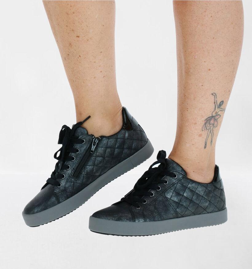 Geox Blomiee Chaussures à Lacets en Noir en simili cuir (279202)