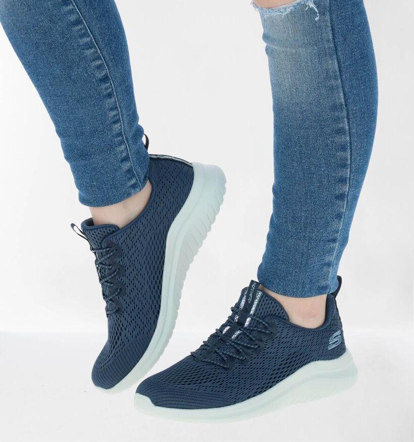 Skechers Ultra Flex 2.0 Baskets slip-on en Bleu en textile (279336)