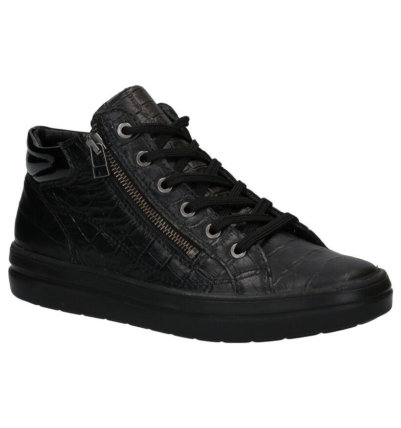 Mirel Zwarte Hoge Sneakers in leer (279836)