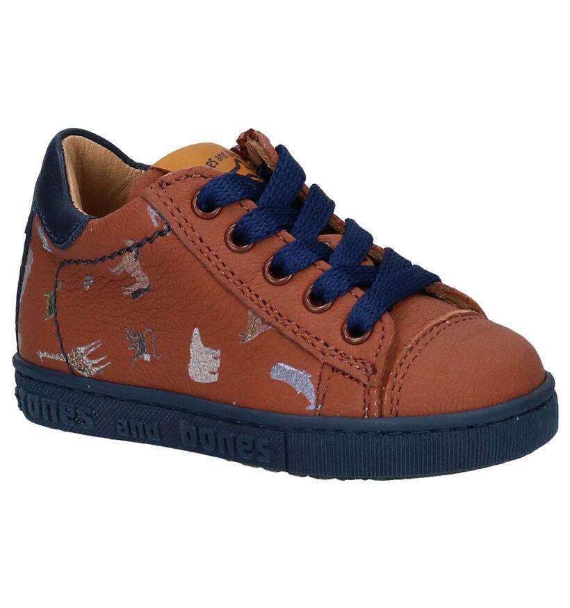 STONES and BONES CRIP Chaussures à Lacets en Bleu en cuir (267186)