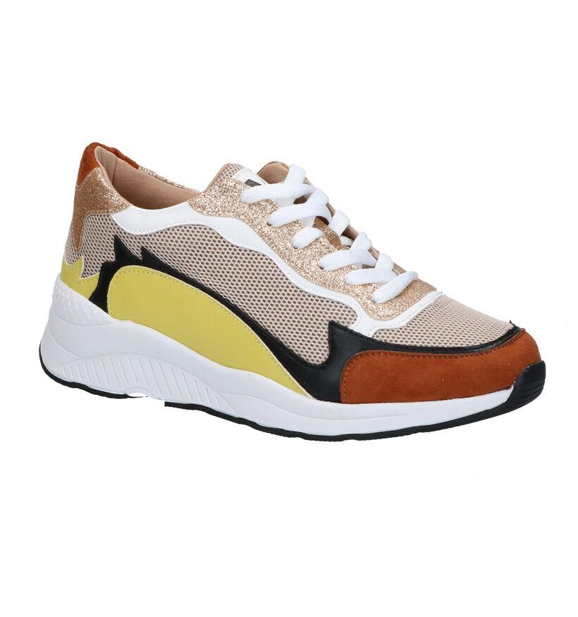 Vanessa Wu Cognac Sneakers in stof (277328)