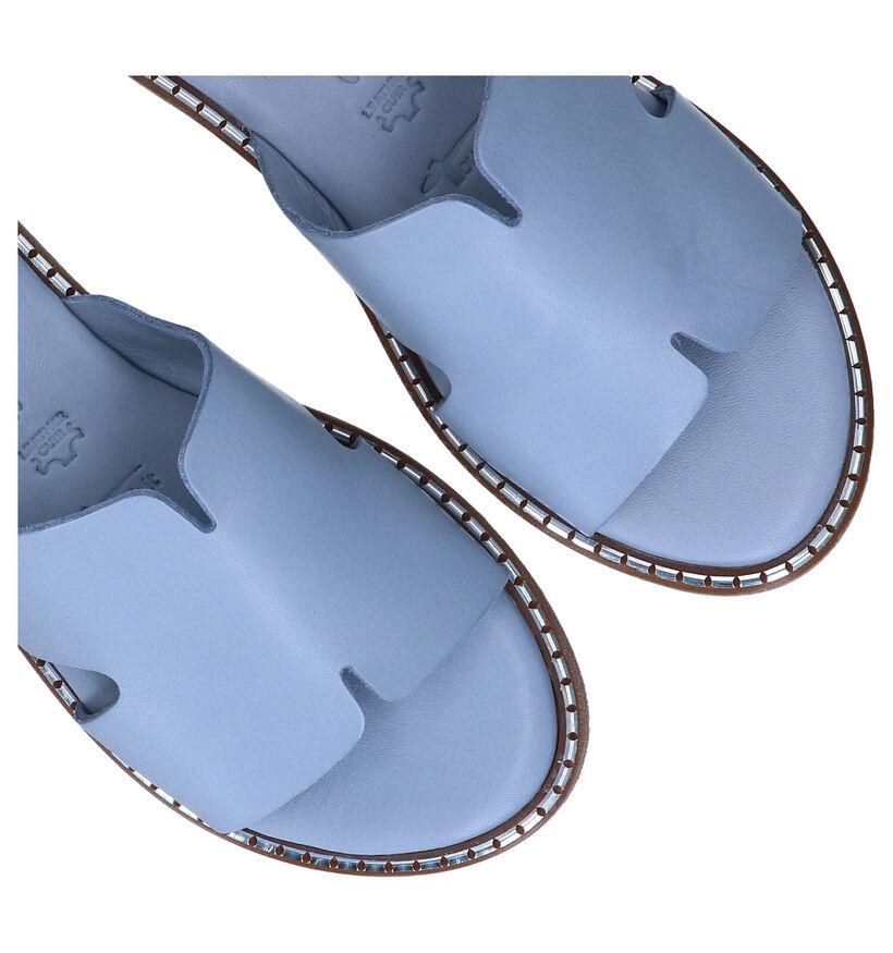 Tamaris Touch it Mules en Bleu en cuir (289395)