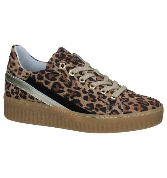 Bruine Shoecolate Sneakers met Luipaardprint
