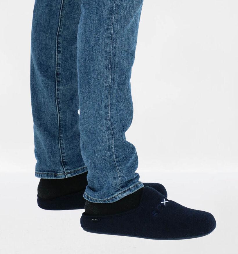 Scapa Blauwe Pantoffels in stof (284022)