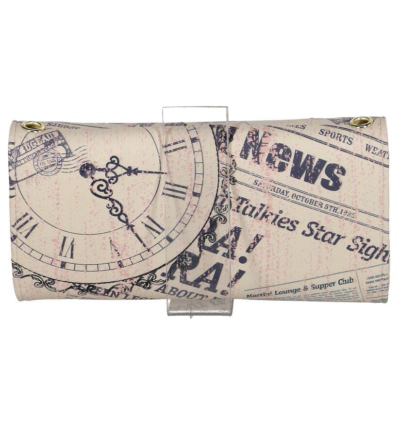 Shagwear Vintage Time Piece Beige Clutch Tasje in kunstleer (232855)
