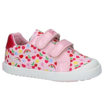 Roze Babyschoentjes met Tekening Geox in stof (210514)