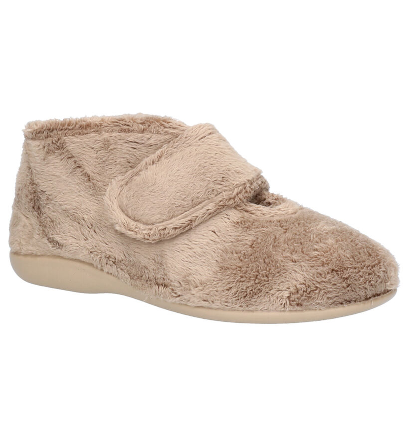 Via Limone Beige Pantoffels in faux fur (254856)
