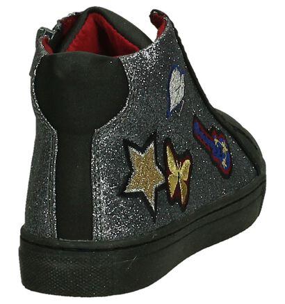 Asso Zwarte Hoge Sneakers in kunstleer (203363)