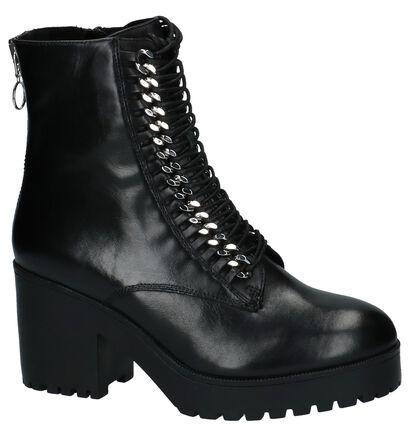 Zwarte Korte Laarzen SPM Rits/Veter in leer (222268)