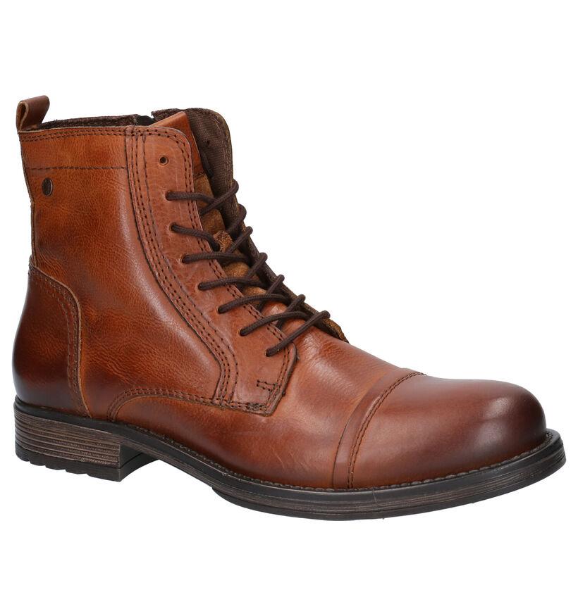 Jack & Jones Cognac Boots in leer (252835)