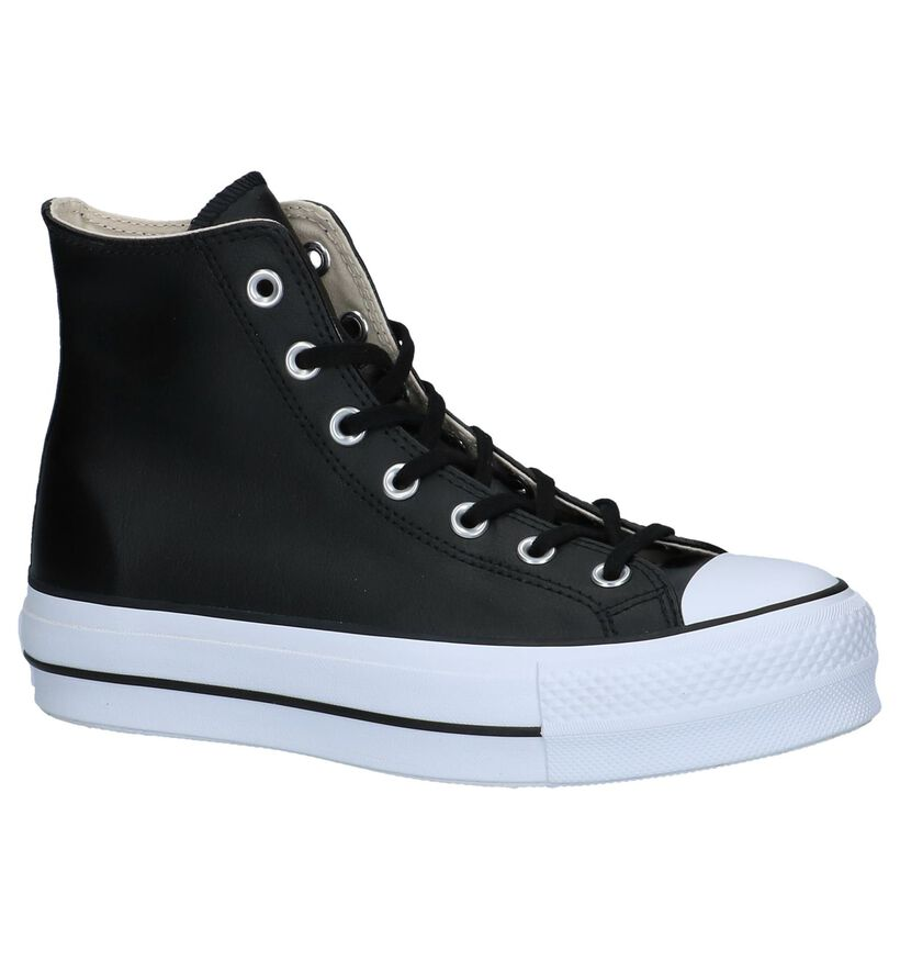 Converse All Star Lift Hi Zwarte Sneakers in leer (263348)