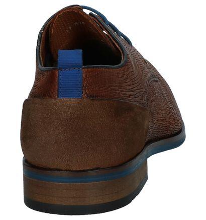 Donkerblauwe Geklede Veterschoenen Australian Irving, Cognac, pdp