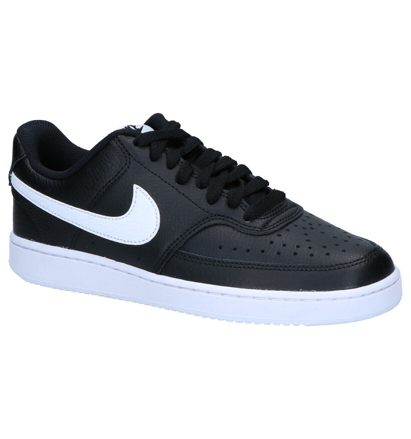 Nike Court Vision Low Baskets en Noir en cuir (277461)