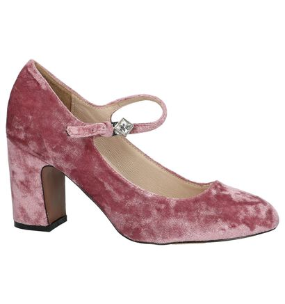 Youh! Velours Roze Pumps met Bandje in velours (201202)