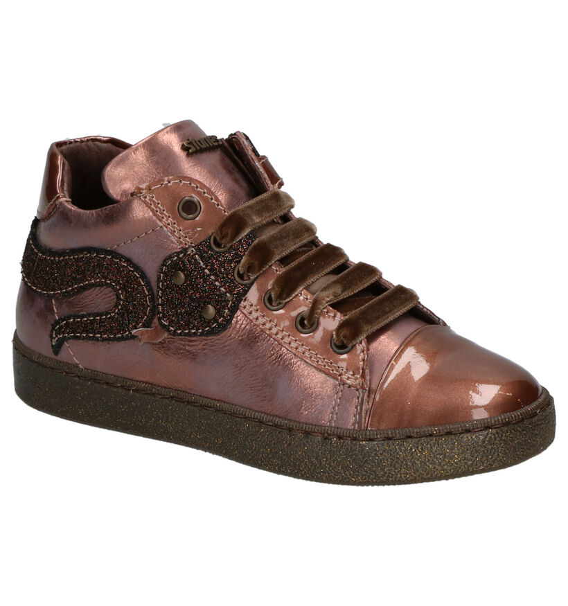 STONES and BONES Strac Chaussures Hautes en Metallic Rose en cuir (256776)