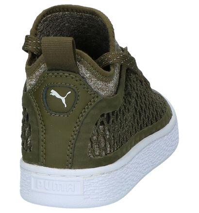 Puma Basket Classic Hoge Sneaker Kaki in stof (199544)