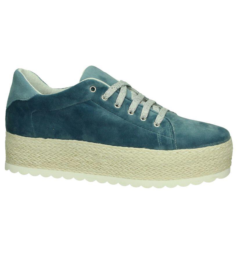 Youh! Chaussures à lacets en Bleu en velours (201259)