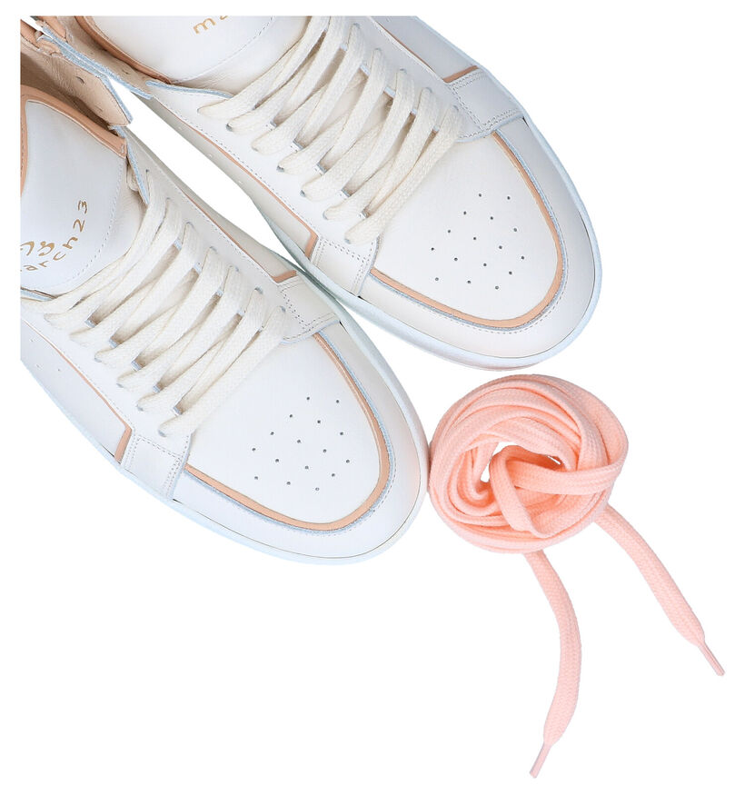 March23 Cece Ecru Hoge Sneakers in leer (289056)