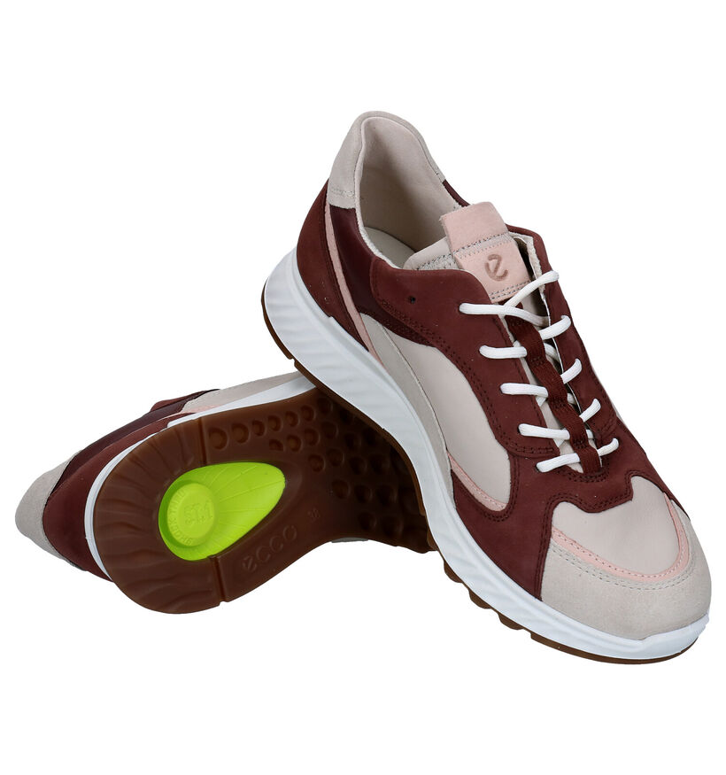 ECCO Beige/Bordeaux Veterschoenen in lak (280886)