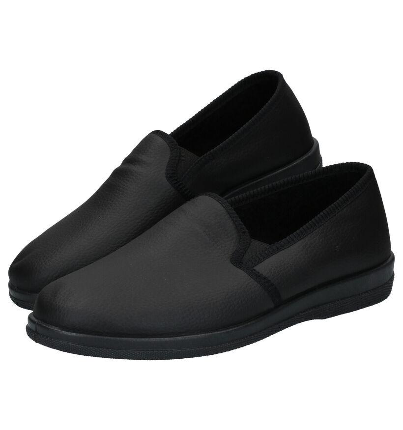 Slippers Comfort Pantoufles fermées en Noir en simili cuir (281888)