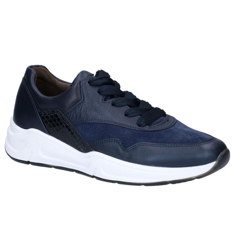 Gabor OptiFit Blauwe Sneakers in leer (282388)