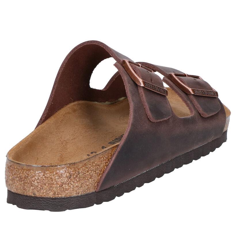 Birkenstock Arizona Bruine Slippers in leer (281360)