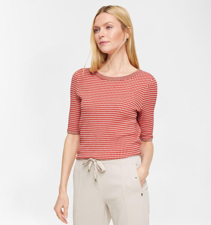 comma T-shirt en Rouge/Beige