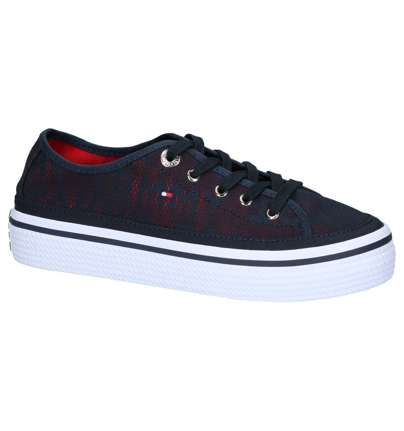 Blauwe Sneakers Tommy Hilfiger Tommy Jacquard Flatform in stof (241824)