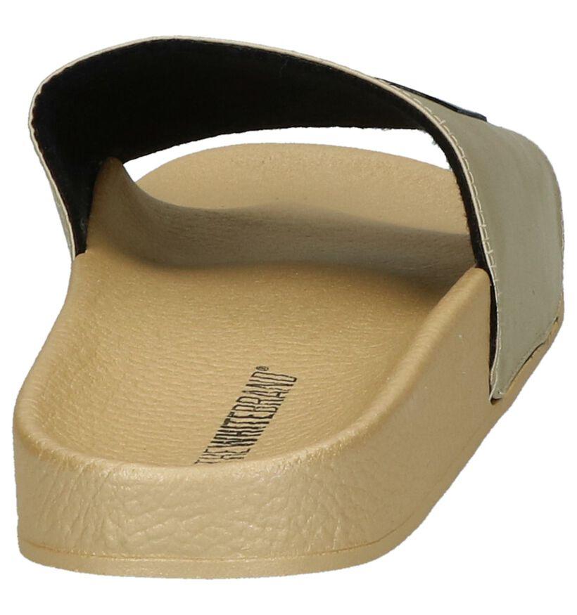 The White Brand Claquettes de piscine en Or en textile (215897)