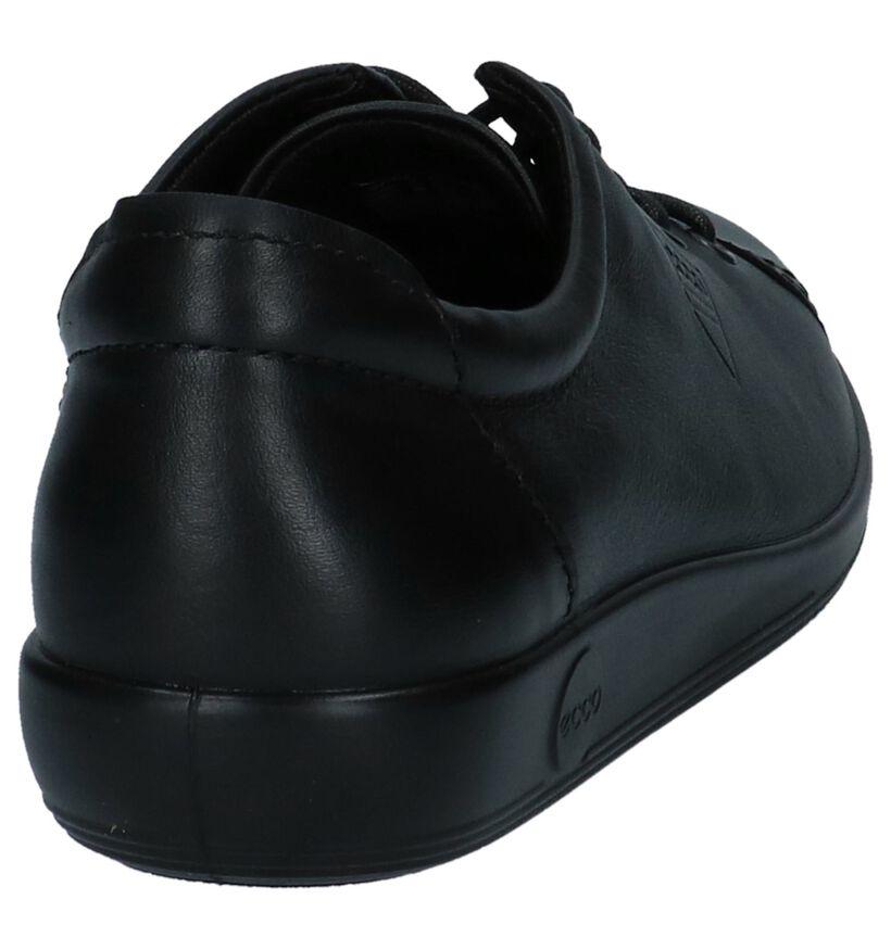 Ecco Soft 2.0 Zwarte Veterschoenen in leer (270019)