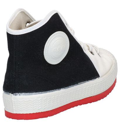 Zwart/Witte Hoge Sneakers 0051 Anton in stof (264377)