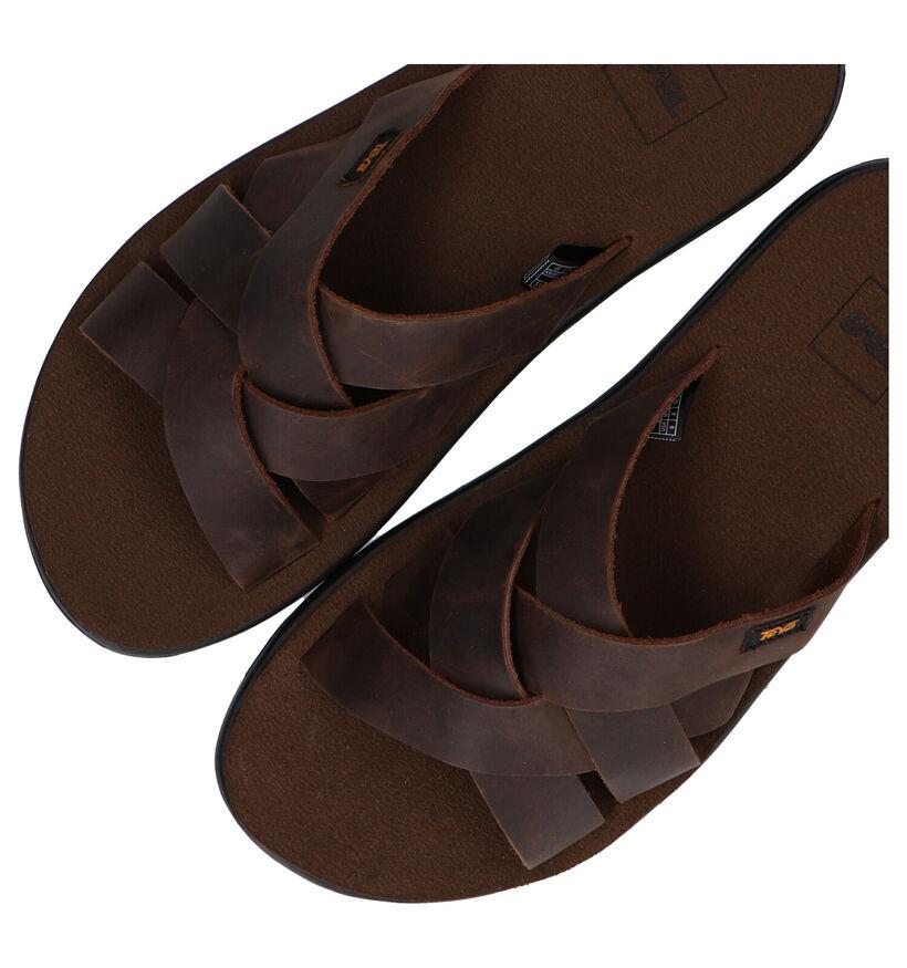 Teva Voya Slide Bruine Slippers in leer (289136)