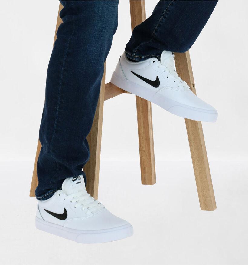 Nike SB Charge Premium Baskets en Blanc en simili cuir (277453)