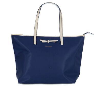 Blauwe Shopper Tas Via Roma in stof (209097)