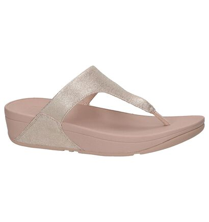 Rose Gold FitFlop Shimmy Suede Toe-Thong Teenslippers, Roze, pdp