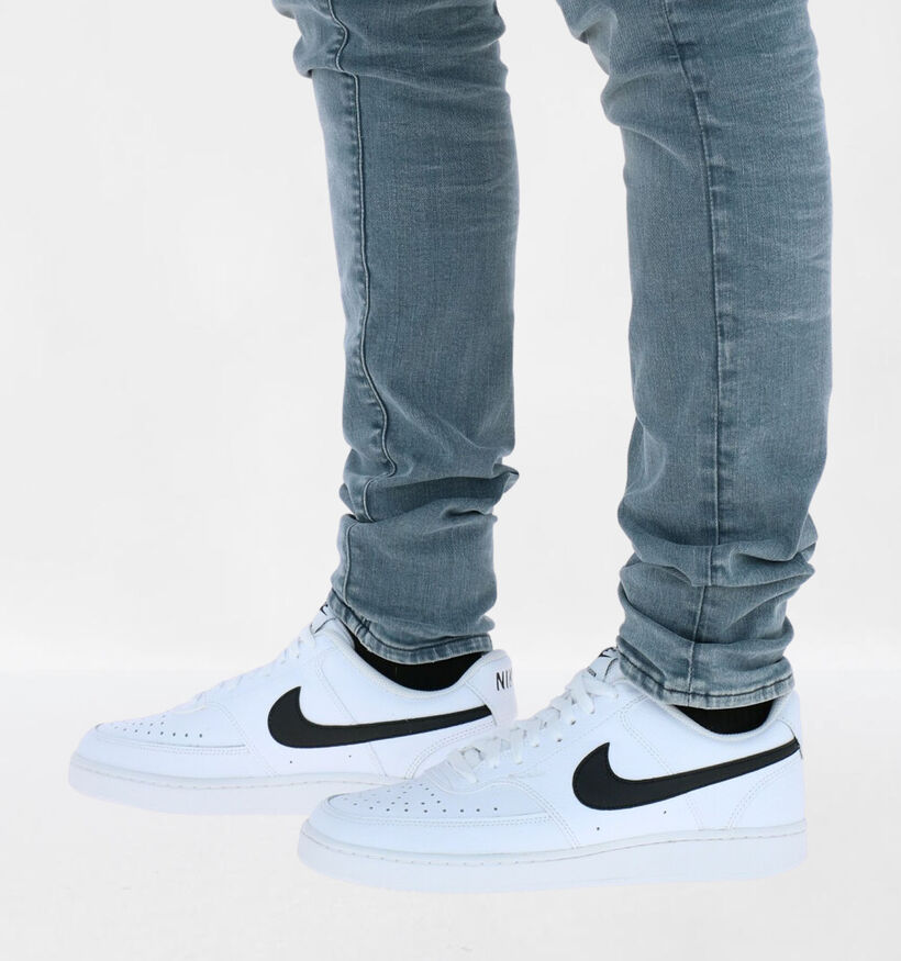 Nike Court Vision Low Zwarte Sneakers in kunstleer (277445)