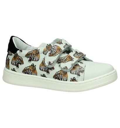 Witte Velcro Sneaker Wild met Tijgers, Wit, pdp