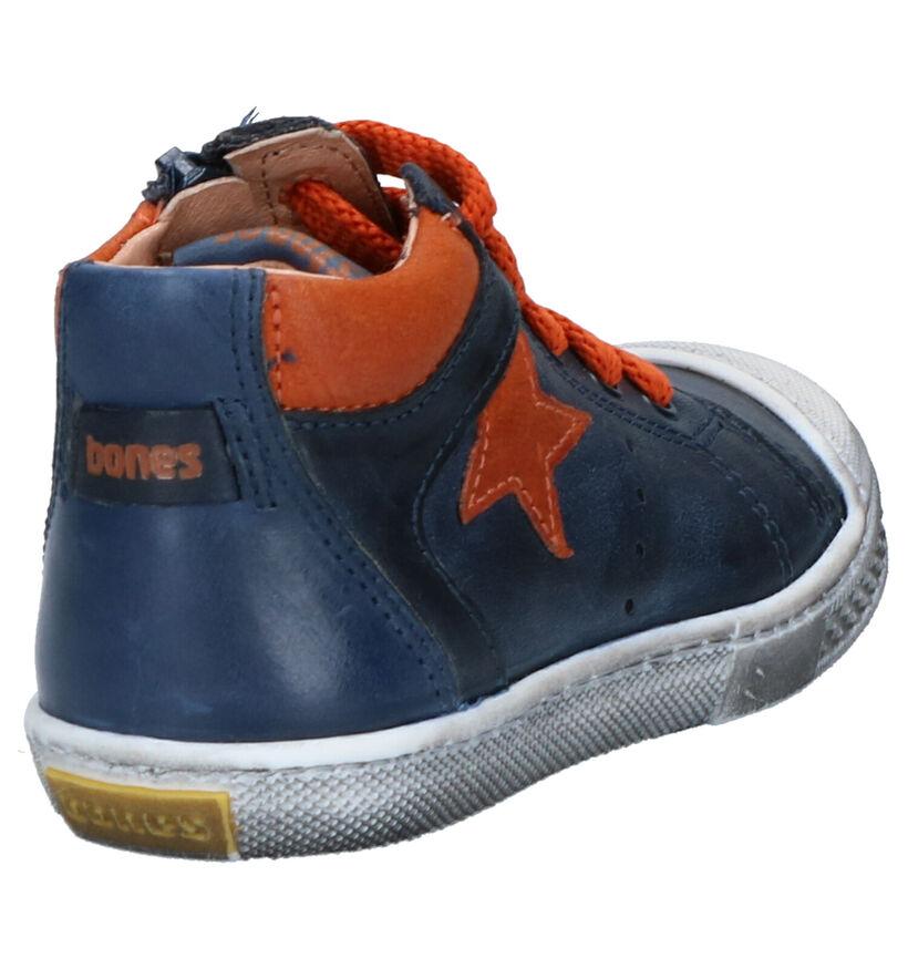 STONES and BONES Chaussures hautes en Bleu foncé en cuir (255443)
